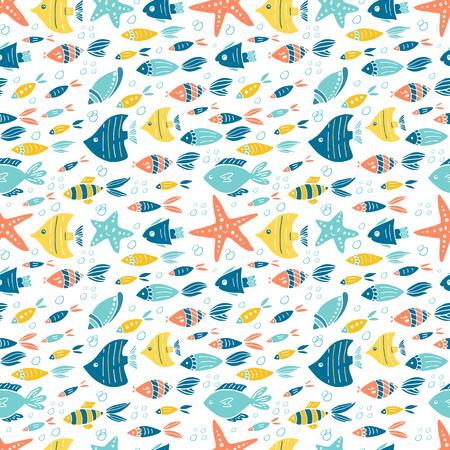 Vector bajo el diseño de patrones sin fisuras del mundo del agua Ilustración de vector