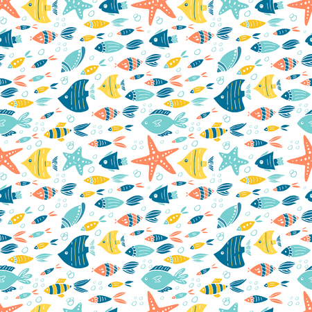 Vector under water world seamless pattern design