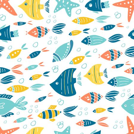 Vector under water world seamless pattern design