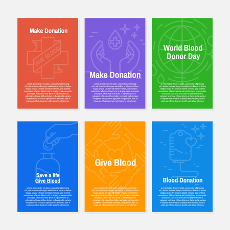 Blood donation icons set with donor arm, blood donation bag, blood drops symbols