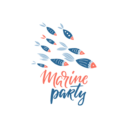 Marine party lettering and fishes clip art vector