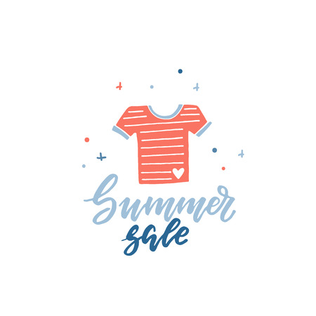 Summer Sale simple illustration with t-shirt vector