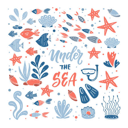Under the sea illustration. Set of hand drawn elements Illustration