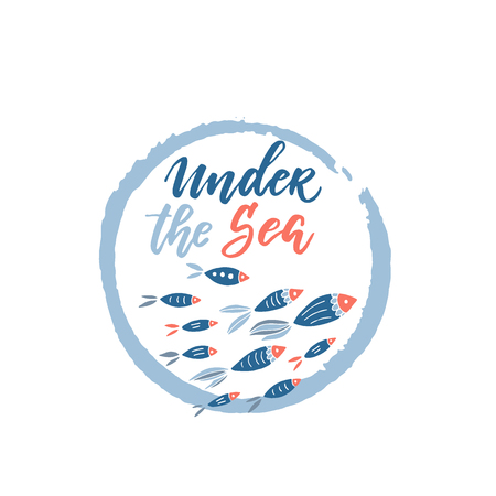 Under the sea lettering and fishes clipart Illustration
