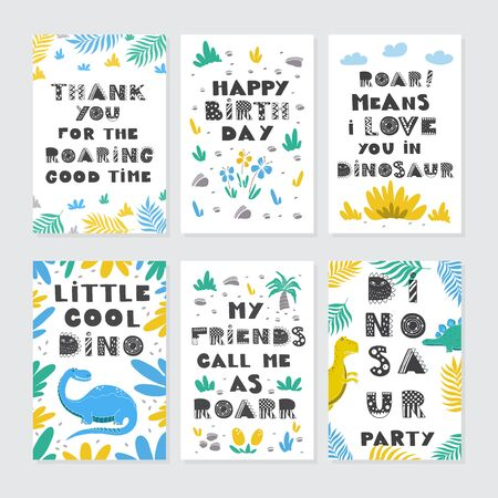 Dinosaurs greeting cards big vector collection set