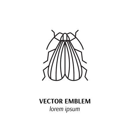 Net - winged beetle line icon isolated on white background Illustration