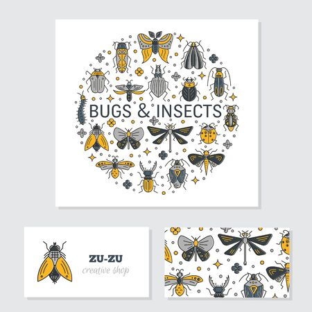 Bugs and insects identity design cards Illustration