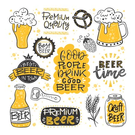 Vector collection of beer related doodle illustrations. Clipart for Octoberfest or brewery label.