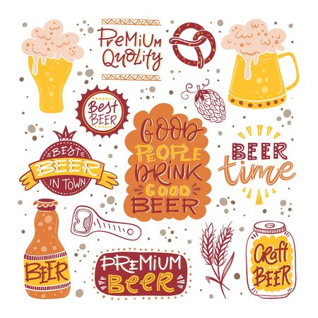 Beer fest hand drawn illustration big vector collection 写真素材 - 127108575