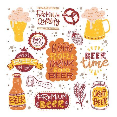Beer fest hand drawn illustration big vector collection Illustration