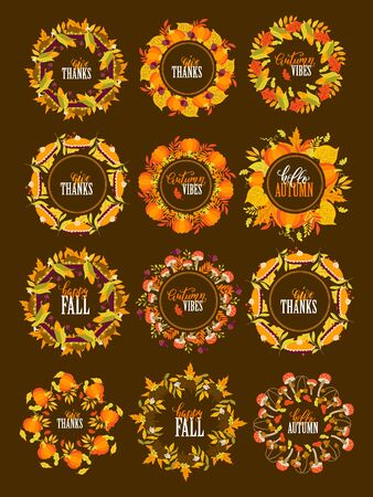 Vector big set of Autumn wreath and borders with pumpkins, mushrooms, hedgehog, turkey, pie, leaves on background. Autumn forest. Thanksgiving day. Perfect for holiday invitations and greeting cards Иллюстрация