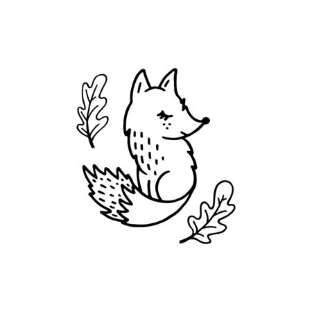 Vector outline fox with autumn oak leaves isolated on white background