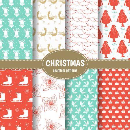 Conjunto navideño de patrón navideño con elementos de decoración.