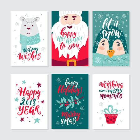 Vector Merry Christmas greeting cards and invitations isolated on background. Big set with cute bear, Santa, gift, punguin and garland hand drawn designs. Vector elements for Xmas design. Vektorgrafik