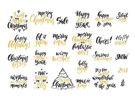 Vector Christmas lettering collection. Handwritten phrases perfect for Christmas and New Year invitations and greeting cards. Vecteurs