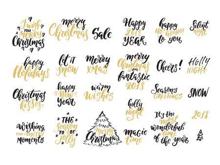 Vektor-Weihnachten-Schriftzug-Sammlung. Handgeschriebene Sätze, perfekt für Weihnachts- und Neujahrseinladungen und Grußkarten. Vektorgrafik