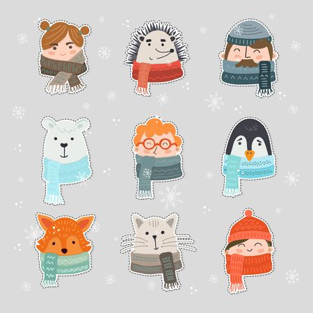 Vector set of cute winter animals and people stickers isolated on background. Big set with girls, woman, man, bear, penguin, cat, fox hand drawn designs. Xmas, christmas design.