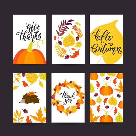 Vector Thanksgiving day greeting card, flyer, banner, poster templates. Hand drawn symbols, pumpkin pie, turkey and handwritten lettering. Thanksgiving day vector collection.