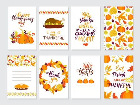 Vector Thanksgiving day greeting cards big collection