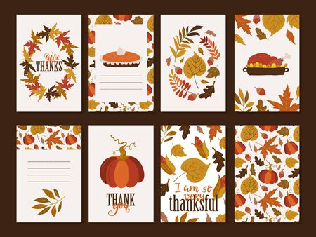 Vector Thanksgiving day invitation and greeting card, flyer, banner, poster templates. Hand drawn symbols, cute design elements, and handwritten lettering. Thanksgiving day vector collection. Stock Illustratie