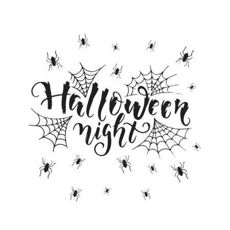 Vector hand drawn poster with hand-lettering, scary spiders and spiderweb isolated on white. Halloween night greeting card. Perfect design element for poster or banner.