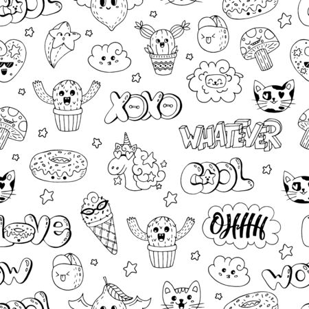 Vector patch set - 80s-90s doodle style design. Kawaii doodle characters. Isolated illustrations - great for stickers, embroidery, badges. Иллюстрация