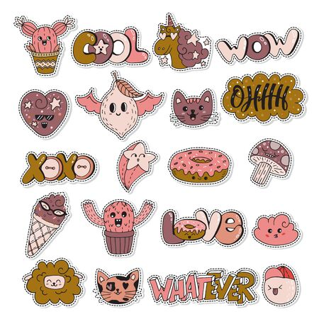 Vector patch set - 80s-90s doodle style design. Kawaii doodle characters. Isolated illustrations - great for stickers, embroidery, badges. Archivio Fotografico - 131943999
