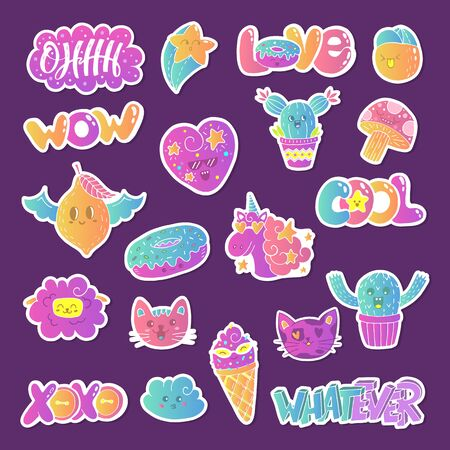 Vector patch set - 80s-90s doodle style design. Kawaii doodle characters. Isolated illustrations - great for stickers, embroidery, badges. Stock fotó - 131947930
