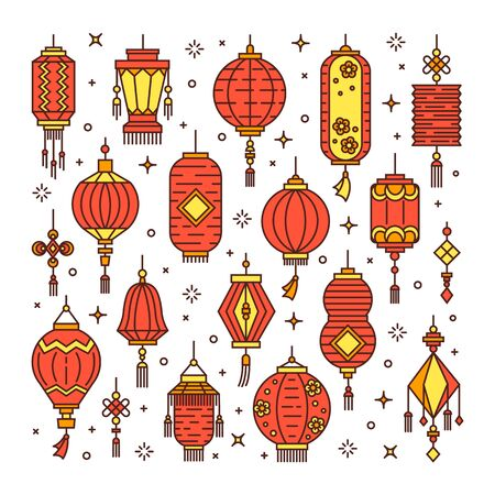 Vector set of asian street and chinese holiday lanterns, culture decorations. Monoline and flat objects isolated on background. Standard-Bild - 131958256