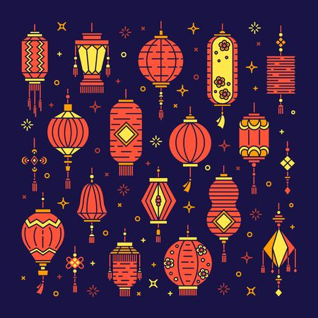 Vector set of asian street and chinese holiday lanterns, culture decorations. Monoline and flat objects isolated on background. Standard-Bild - 131958151