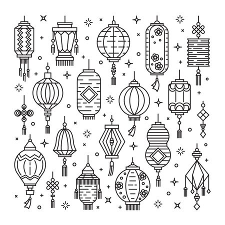 Vector set of asian street and chinese holiday lanterns, culture decorations. Monoline and flat objects isolated on background. Standard-Bild - 131955783