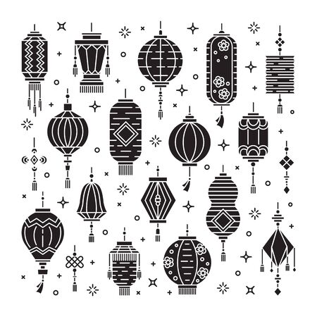 Vector set of asian street and chinese holiday lanterns, culture decorations. Monoline and flat objects isolated on background.  イラスト・ベクター素材