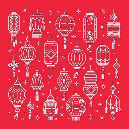 Vector set of asian street and chinese holiday lanterns, culture decorations. Monoline and flat objects isolated on background. Standard-Bild - 131956777