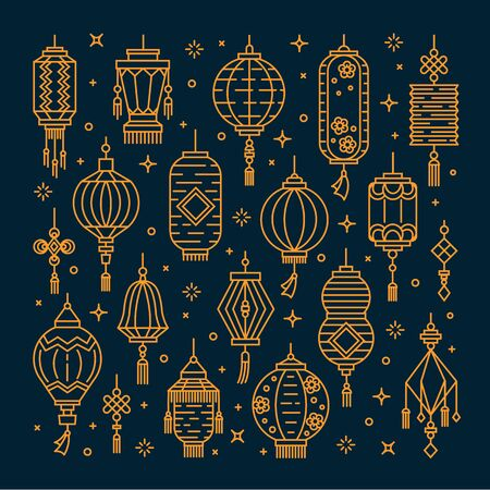 Vector set of asian street and chinese holiday lanterns, culture decorations. Monoline and flat objects isolated on background. Standard-Bild - 131956364