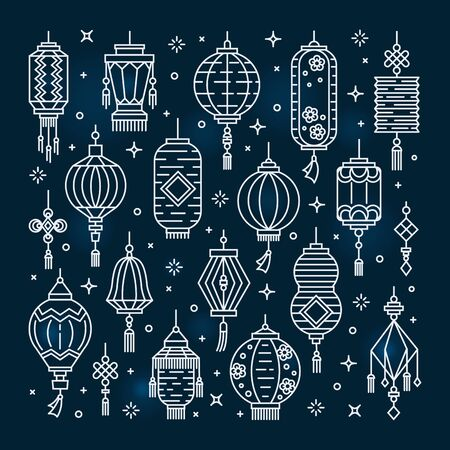 Vector set of asian street and chinese holiday lanterns, culture decorations. Monoline and flat objects isolated on background. Standard-Bild - 131964564