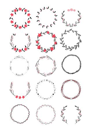 Vector big collection of hand drawn christmas wreaths isolated on background Ilustração