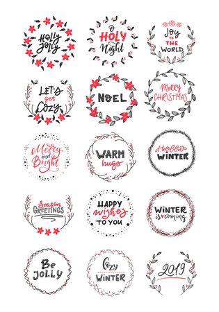 Grande collection vectorielle de phrases et de citations de Noël écrites à la main. Phrases de lettrage calligraphiques élégantes avec des couronnes isolées. Vecteurs