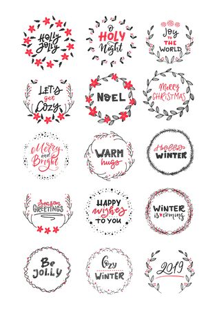 Vector big collection of hand written christmas phrases and quotes. Elegant calligraphic lettering phrases with wreaths isolated. Vetores