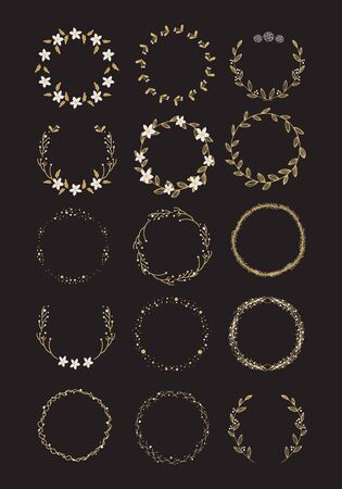 Vector big collection of hand written christmas wreaths isolated on background Vector Illustration