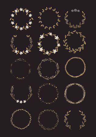 Vector gran colección de coronas de Navidad escritas a mano aisladas sobre fondo Ilustración de vector