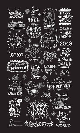 Vector winter lettering. Hand drawn phrase and quotes