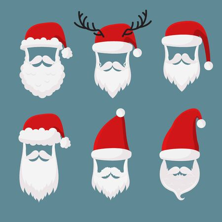 Vector Santa Claus without face big, collection, perfect for mobile apps. Santa accessories hats, moustache, horns, beards and glasses. Christmas festive design Banco de Imagens - 132235070