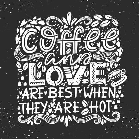 Composizione di disegno di iscrizione di vettore Caffè e amore Vettoriali
