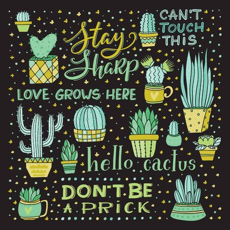 Vector Lettering and Cactus collection design art