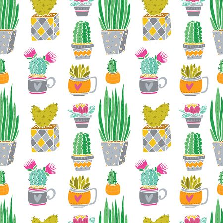 Vector different Cactus seamles pattern white background