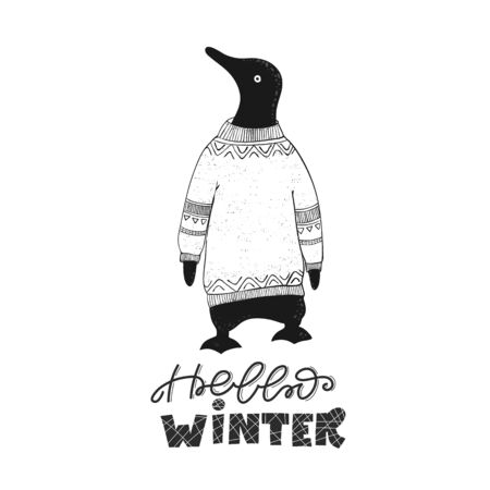 Winter illustration with cute penguin and phrase - Hello Winter