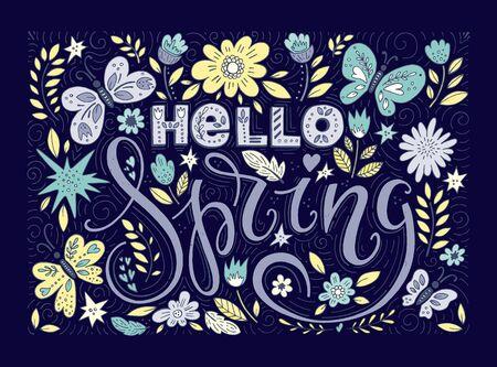 Hello spring greeting card. Hand drawn illustration