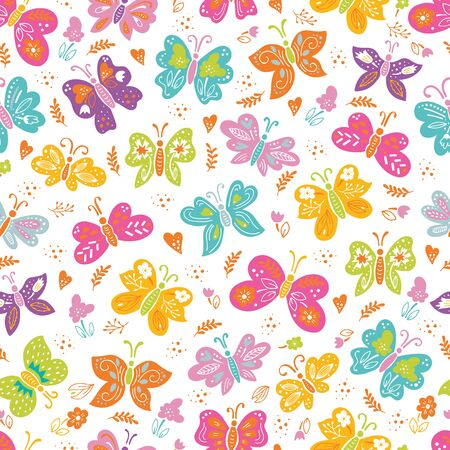 Insects and flowers seamless background. Butterflies spring pattern 向量圖像