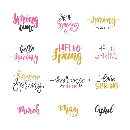 Vector Hello spring lettering typography set. Hand written style 向量圖像