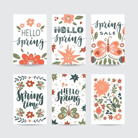 Vektorsatz kreative Frühlingskarten. Handgezeichnete Blumen, Schmetterlinge und Schriftzüge. Design für Poster, Karte, Einladung, Plakat, Broschüre, Flyer. Vektorgrafik